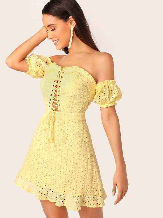 5bf20bba Frill Trim Lace Up Front Schiffy Bardot Dress | MakeMeChic.COM