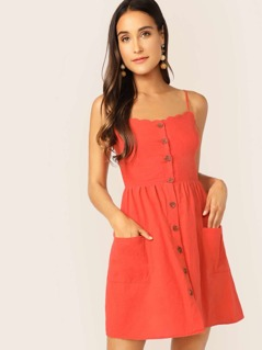 Shirred Back Scallop Trim Patch Pocket Slip Dress