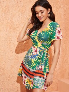 Tropical and Striped Print Tie Side Wrap Dress