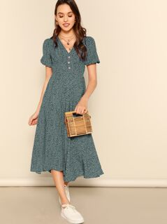 Allover Print Puff Sleeve Button Detail Tea Dress