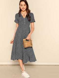 Allover Print Puff Sleeve Button Detail Dress