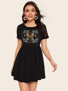 Embroidered Detail Smock Dress