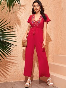 Lace Up Embroidery Front Wide Leg Jumpsuit