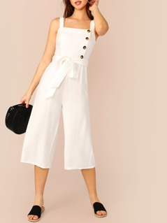 Button Front Belted Pinafore Jumpsuit
