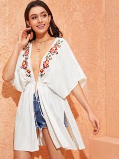 Embroidery Front Drawstring Waist Split Side Kimono