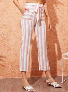Pocket Patched Belted Striped Pants