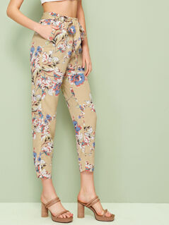 Slant Pocket Belted Floral Pants
