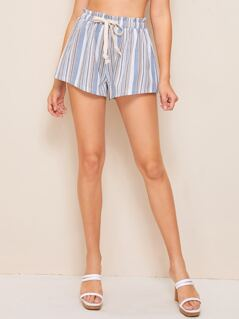Drawstring Paperbag Waist Striped Shorts
