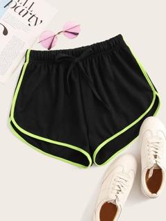 Drawstring Waist Neon Binding Shorts