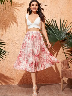 Landscape Print Pleated Swing Skirt