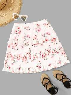 Floral Print Layered Ruffle Hem Skirt