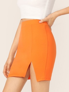 Neon Orange Split Hem Skirt