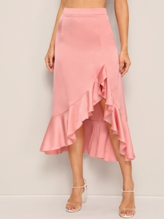 Asymmetrical Ruffle Hem Satin Skirt