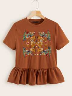Botanical Embroidered Flounce Hem Top