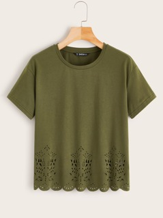 Laser Cut Scalloped Edge Tee