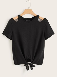 Solid Cut Out Shoulder Knot Front Top