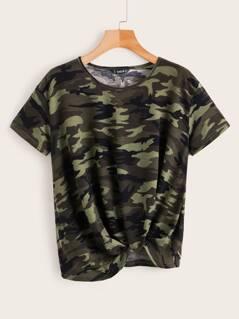 Twist Hem Camo T-shirt