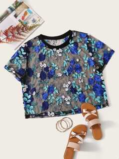 Plus Embroidery Appliques Mesh Top