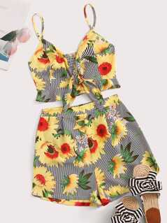Sunflower Tie Front Shirred Back Cami Top & Shorts Set