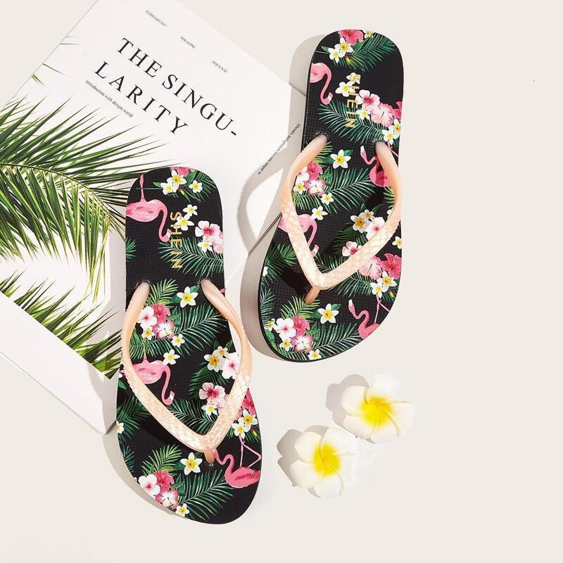 Tropical Print Toe Post Slippers, Multicolor