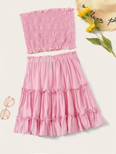Frilled Shirred Bandeau Top and Flippy Skirt Set