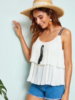 Tribal Straps Tassel Knot Layered Plisse Top
