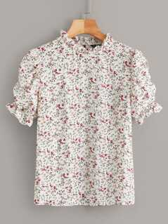 Ditsy Floral Gathered Sleeve Frill Trim Top