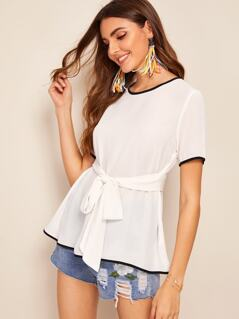Contrast Piping Self Belted Blouse