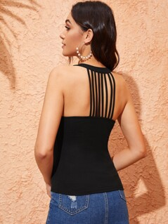 Solid Strappy Back Halter Top