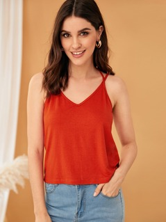 Neon Orange Double Straps Cutout Backless Cami Top