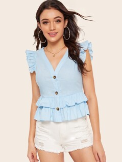 Button Through Layered Ruffle Peplum Top