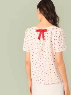 Bow Back Confetti Heart Print Top