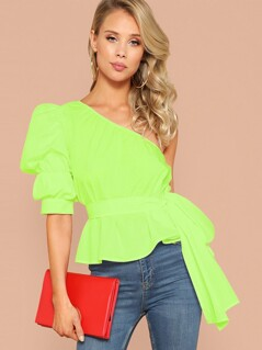 Neon Lime One Shoulder Gathered Sleeve Belted Top