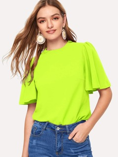 Neon Lime Flutter Sleeve Top