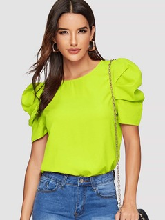 Neon Lime Gathered Sleeve Keyhole Back Blouse