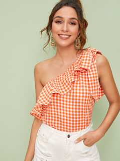 Knot One Shoulder Ruffle Trim Gingham Top
