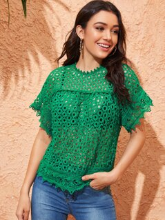 Guipure Lace Keyhole Back Blouse Without Bra