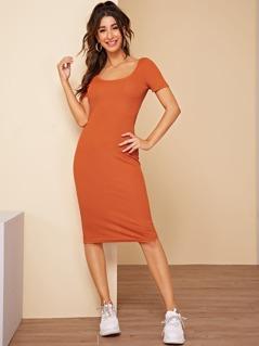 Push Buckle Backless Split Ribbed Dress