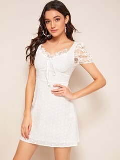 Knot Front Embroidered Mesh Sleeve Schiffy Dress