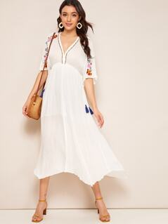 V-neck Embroidery Floral Print High Waist Dress