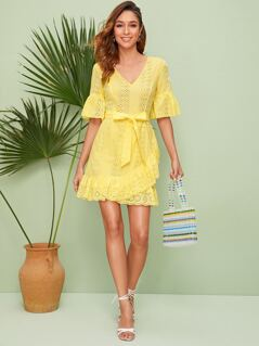 Tie Back Belted Schiffy Dress With Wrap Skirt