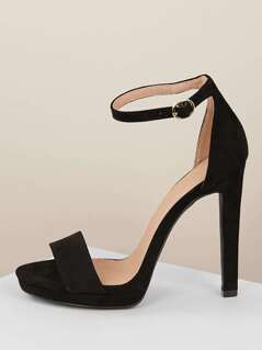 Solid Band Ankle Strap Low Platform Stiletto Heels