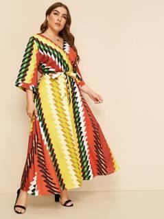 Plus Surplice Neck Geo Print Belted Dress