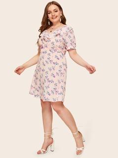 Plus Ditsy Floral Print Ruffle Trim Lace Detail Dress