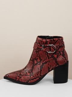 113f17f459 Buckled Snakeskin Pointy Toe Chunky Heel Booties