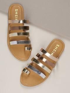 Metallic Toe Loop Strappy Slide On Sandals