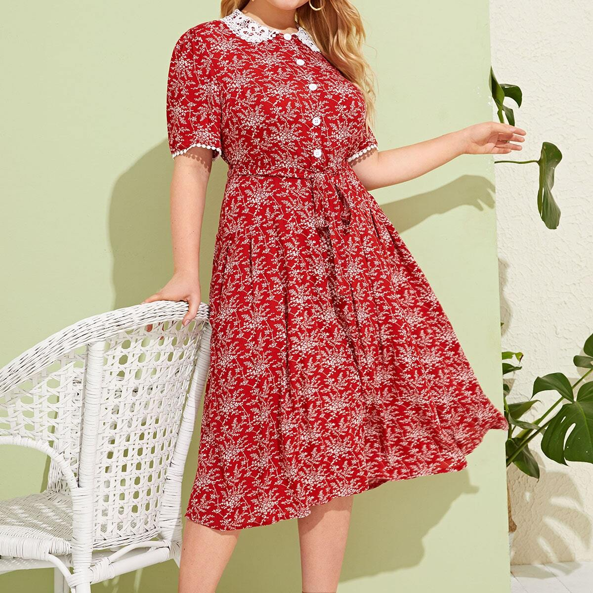 Rood Vintage Vrolijke Bloemetjes Grote maten jurken Contract kant