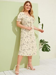 Plus Ditsy Floral Print Tie Front Midi Dress