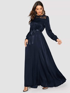 Solid Lace Yoke Belted Satin Maxi Dress