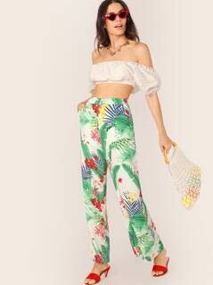 Tropical Floral Wide Leg Palazzo Side Pocket Pants